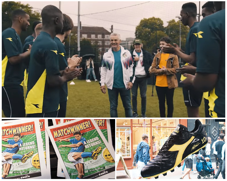 Roberto Baggio was appearing for Diadora at the event.