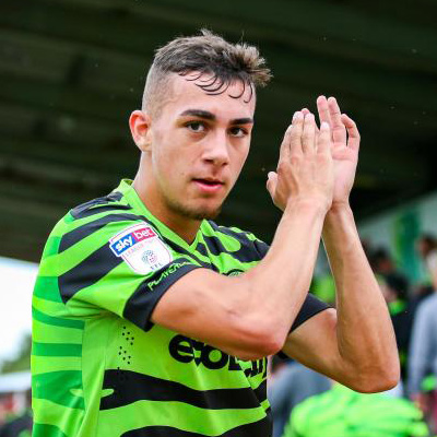 Taylor Allen celebrates scoring a goal for Forest Green Rovers